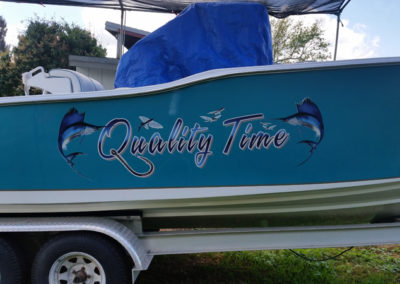 Signs & Stripes Custom Boat Name Quality Time