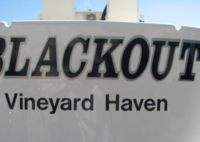 Signs & Stripes Custom Boat Name Blackout Vineyard Haven
