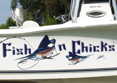 Signs & Stripes Custom Boat Name Fish n Chicks