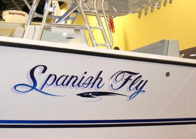 Signs & Stripes Custom Boat Name Spanish Fly