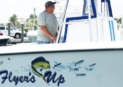 Signs & Stripes Custom Boat Name Flyer's Up