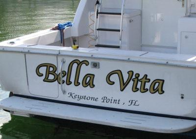 Signs & Stripes Custom Boat Name Bella Vita