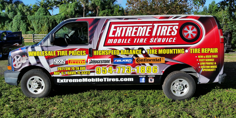 Signs and Stripes Company Vehicle Wraps Extreme Tires Mobile Tire Service