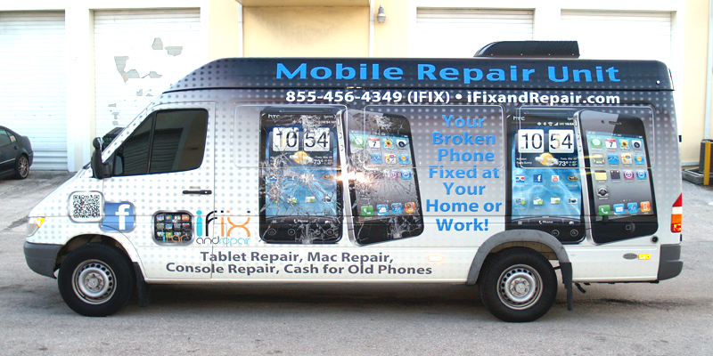 Signs and Stripes Company Vehicle Wraps I Fix And Repair Mobile Repair Unit