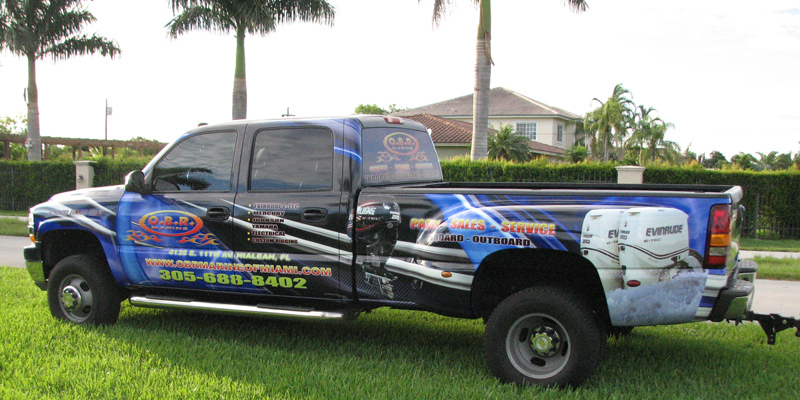Signs and Stripes Company Vehicle Wraps O.B.R. Marine