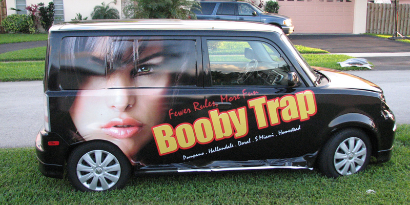 Signs and Stripes Company Vehicle Wraps Booby Trap