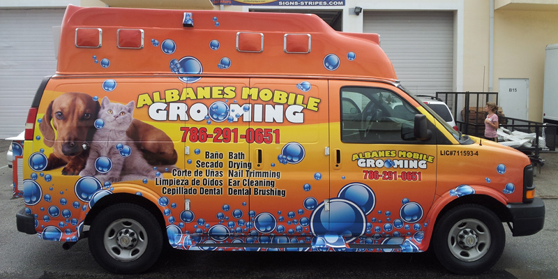 Signs and Stripes Company Vehicle Wraps Albane's Mobile Grooming