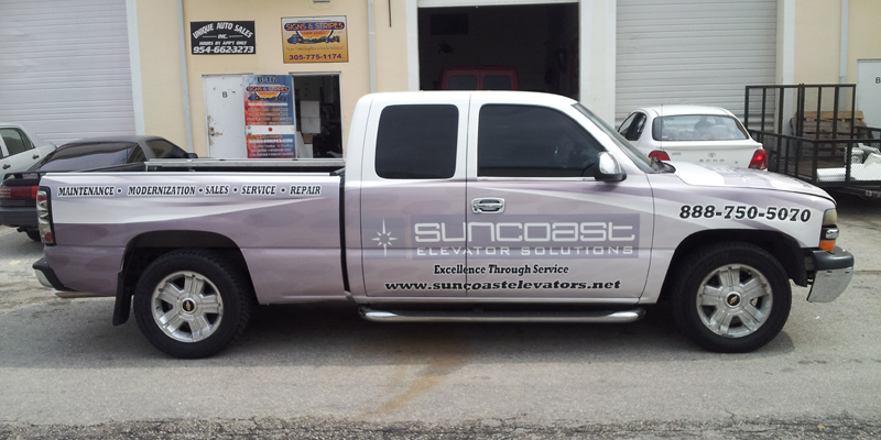 Signs and Stripes Company Vehicle Wraps SunCoast Elevator Solutions
