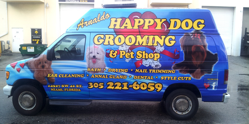 Signs and Stripes Company Vehicle Wraps Happy Dog Grooming and Pet Shop