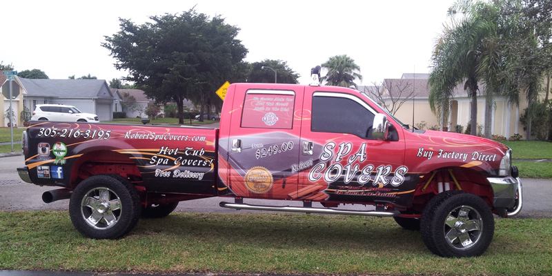 Signs and Stripes Company Vehicle Wraps Robert Spa Covers