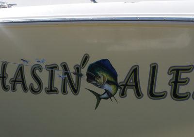 Signs & Stripes Custom Boat Name Chasin' Alex