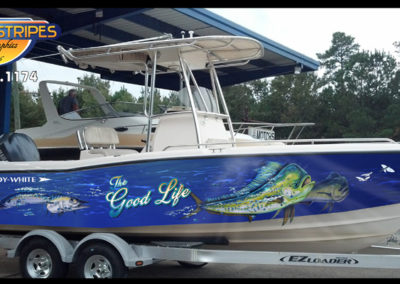 Signs & Stripes Boat Wrap